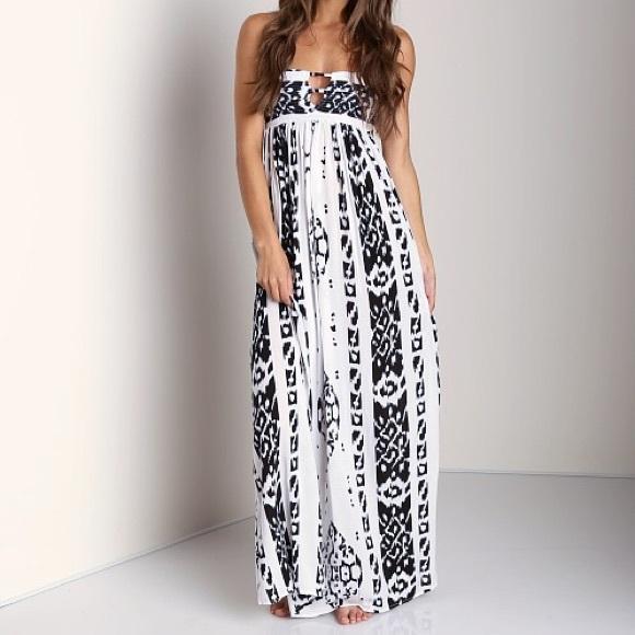 7fdff14dd4a Indah Dresses   Skirts - Indah Flamingo Bandeau Tribal Print Strapless Maxi